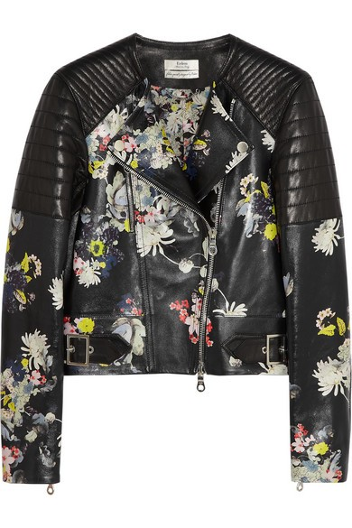 Jade floral-print nappa leather biker jacket
