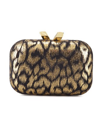 Margo Animal-Print Minaudiere, Black/Gold - Kotur