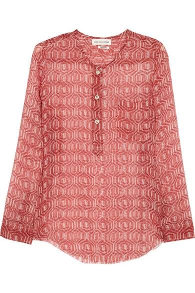 Zino printed silk-chiffon top