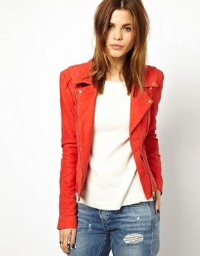 Y.A.S Lein Biker Jacket In Red Suede