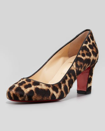 Mistica Low-Heel Calf Hair Red Sole Pump, Leopard - Christian Louboutin