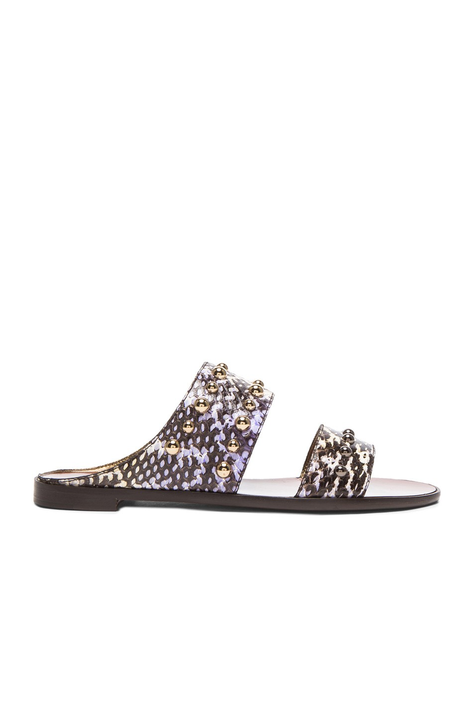 Snakeskin Flat Sandals with Studs