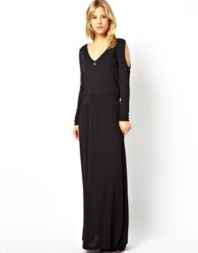 ASOS Maxi Dress In Crepe With Cold Shoulder