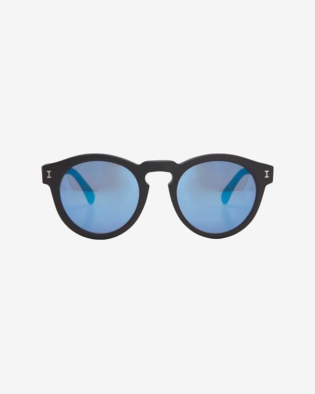 Illesteva Mirrored Lense Sunglasses: Black/Blue