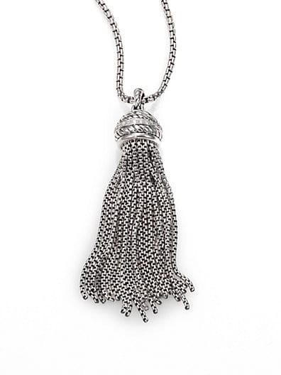 Diamond & Sterling Silver Tassel Pendant Necklace