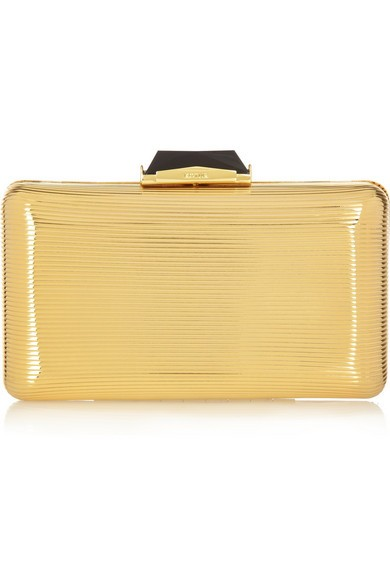 Espey embossed metallic box clutch