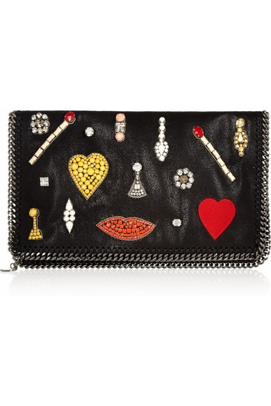 The Falabella crystal-embellished faux leather clutch