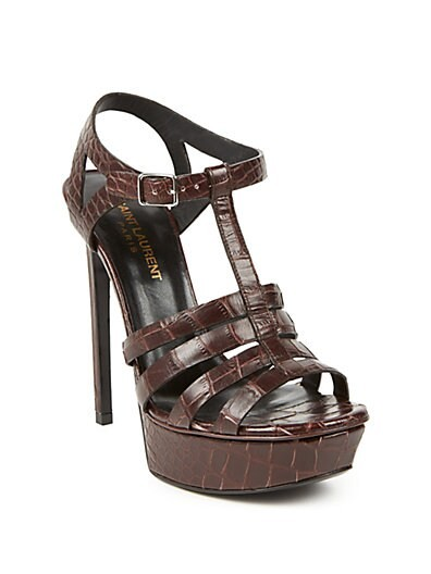 Bianca Croc-Embossed Leather Sandals