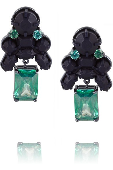 Portage Park silver-plated, cubic zirconia and silicone earrings