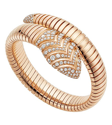 Serpenti Tubogas 18ct pink-gold and diamond bracelet