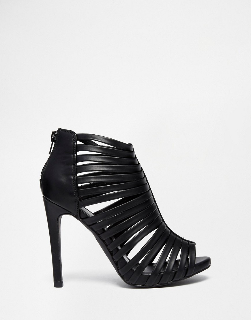 New Look Black Caged Heeled Sandals