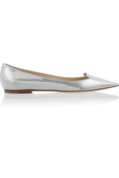 Attila mirrored-leather point-toe flats