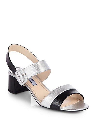 Bicolor Metallic Saffiano Leather Sandals