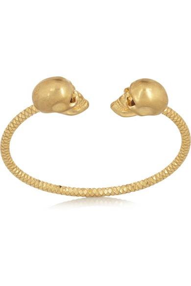 Gold-tone Swarovski crystal skull bracelet