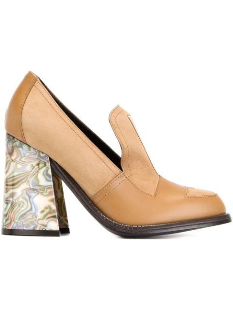 marbled heel pumps