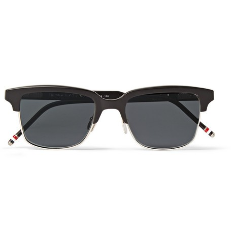 Acetate and Metal Square-Frame Sunglasses