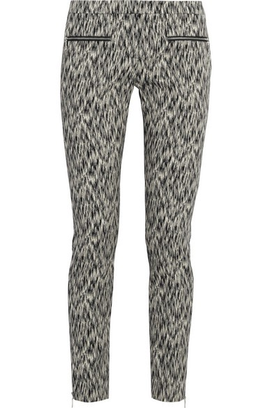 Printed stretch cotton-blend skinny pants