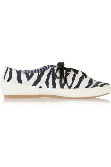Bianca zebra-print twill sneakers