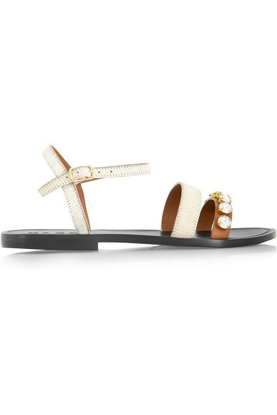 Embellished calf hair and leather sandals