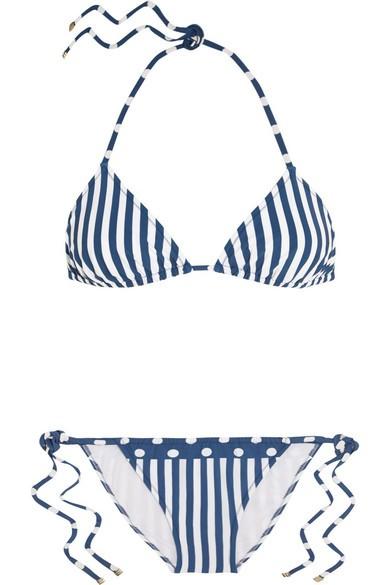 Striped triangle bikini