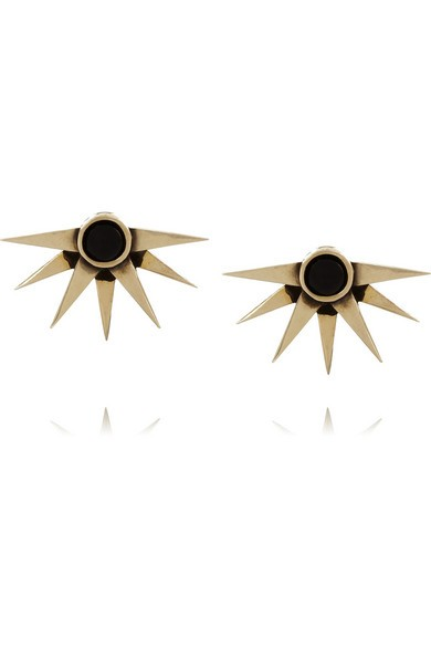 Sunburst gold-tone onyx earrings