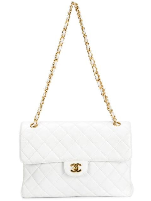 double flap quilted shoulder bag
