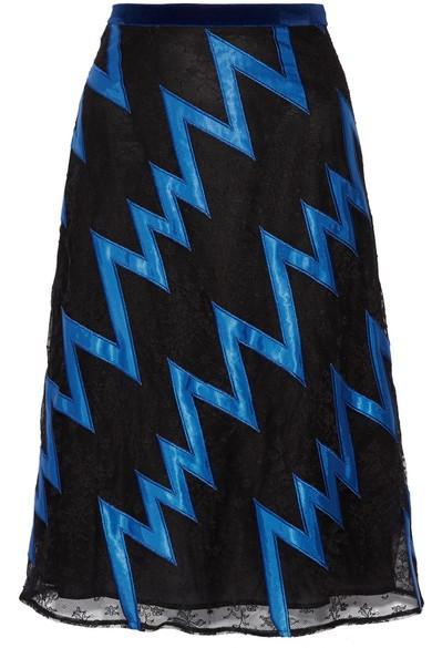 Velvet-trimmed satin-appliquéd lace skirt