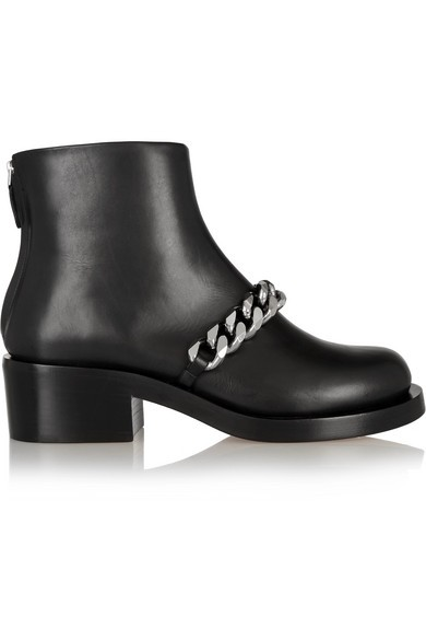 Chain-embellished glossed-leather ankle boots