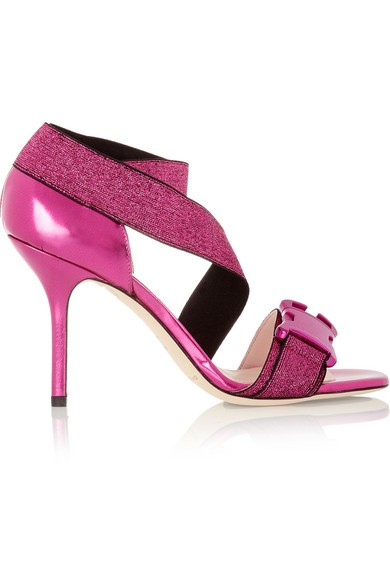 Buckled metallic elastic and leather sandals