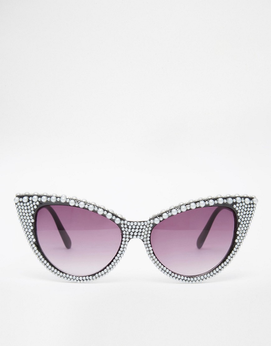 Jeepers Peepers Cat Eye Sunglasses With Pearl Embellishment