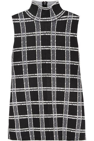 Plaid stretch-knit top