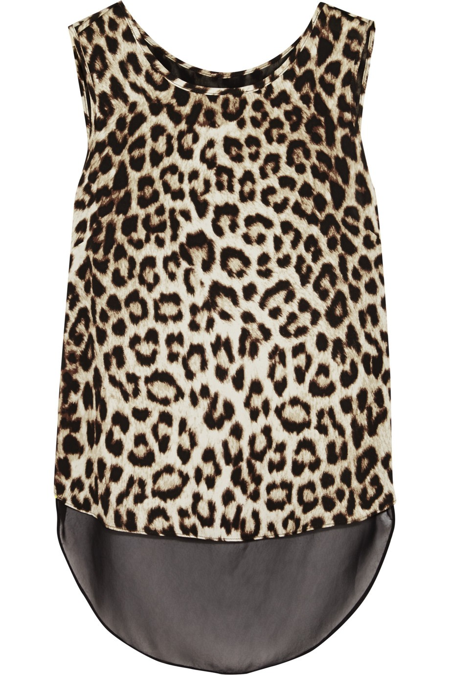 Fleet layered leopard-print silk crepe de chine tank