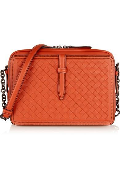 Satchel intrecciato leather shoulder bag