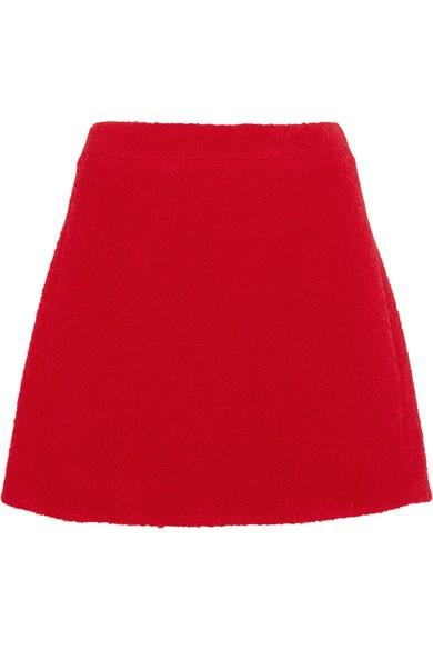 Teddy  wool-blend bouclé mini skirt