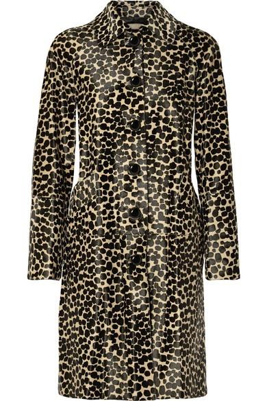 Printed calf hair coat
