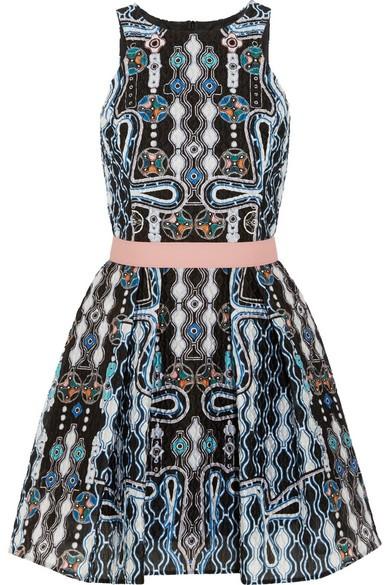 Circle printed cloqué mini dress