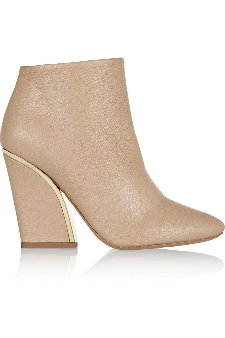 Gold-trimmed textured-leather ankle boots