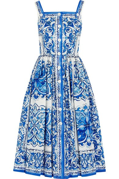 Printed cotton-poplin midi dress