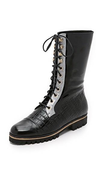Combo Patent Combat Boots
