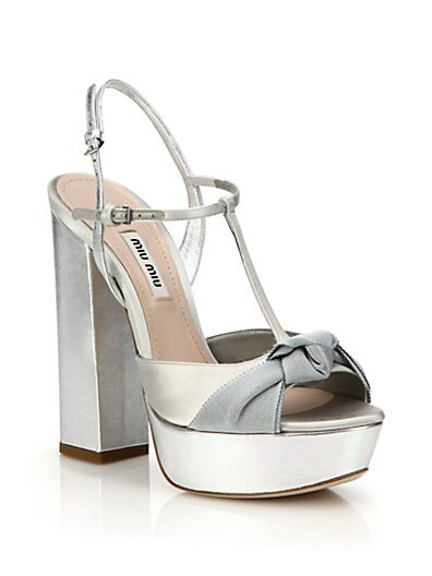 Knotted Metallic Leather T-Strap Sandals
