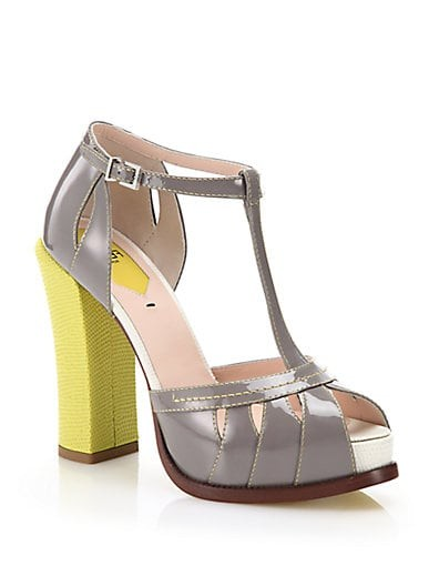 Chameleon Patent & Embossed Leather T-Strap Sandals