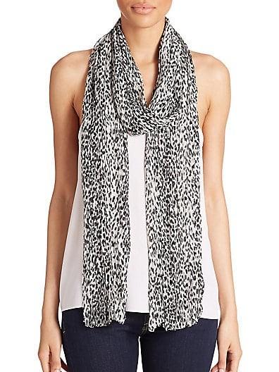Leopard-Print Wool & Silk Scarf