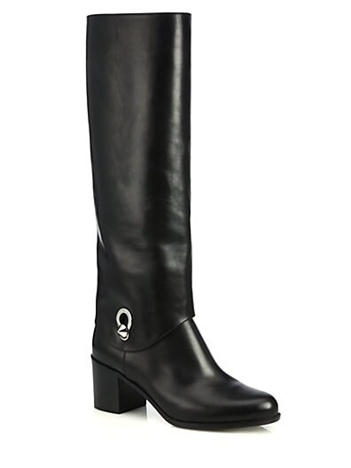 Fold-Over Leather Knee Boots