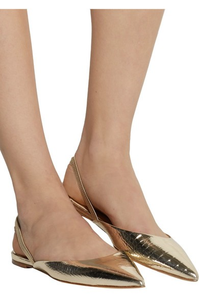 Genoa snake-effect leather point-toe flats