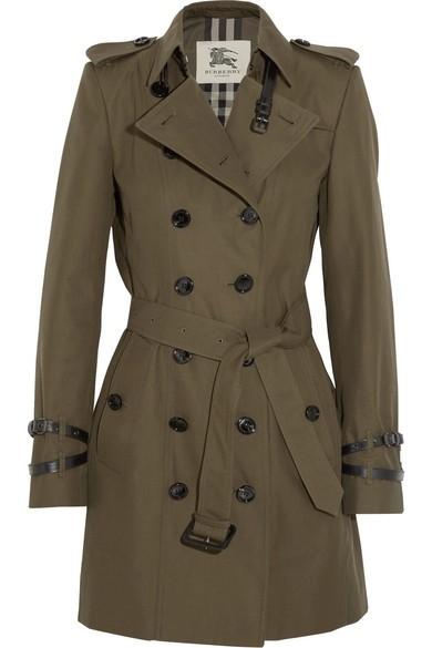 Mid-length cotton-gabardine trench coat
