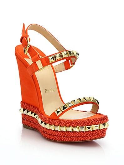 Suede & Leather Platform Wedge Sandals