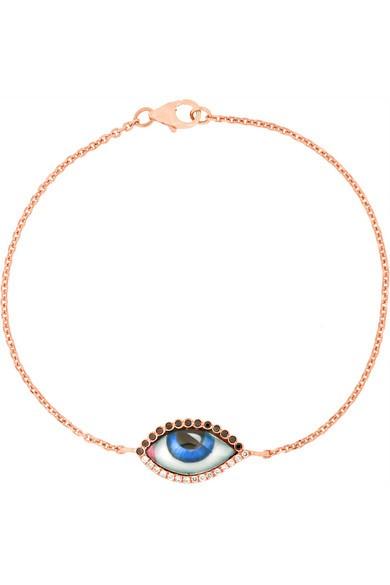 Tu Es Partout 14-karat rose gold, diamond and enamel bracelet