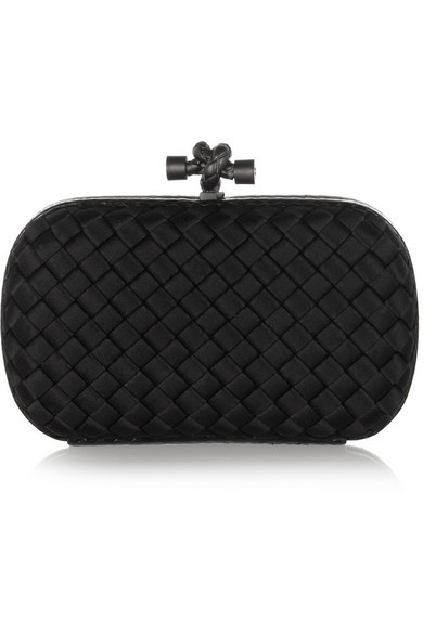 The Knot watersnake-trimmed intrecciato satin clutch
