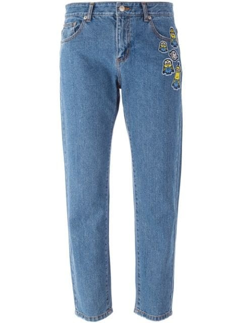 Minions patch cropped jeans
