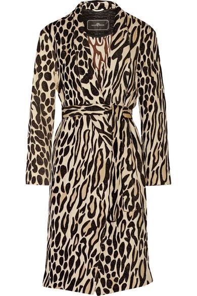 Apponia leopard-jacquard coat
